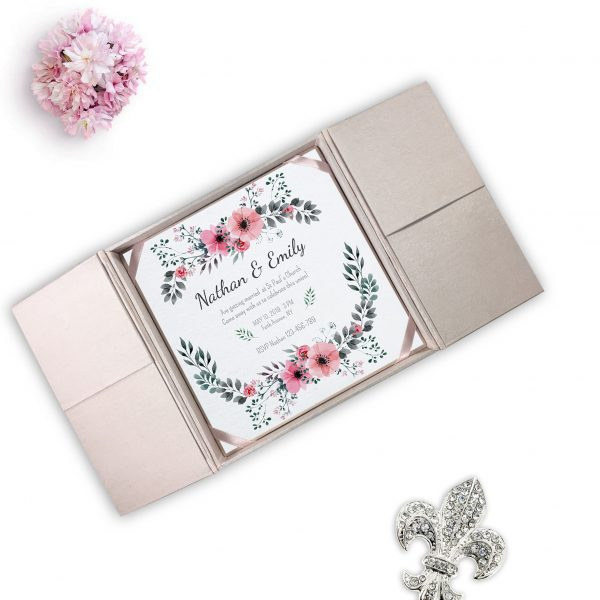 Blush pink boxed invitation creation from Thaialnd