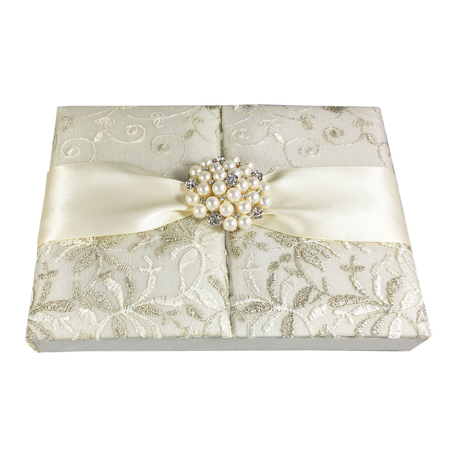 Pearl Brooch Embellished Boxed Lace Invitation