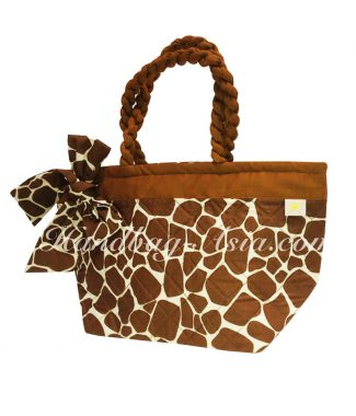 Brown quilted cotton handbag from Thailand