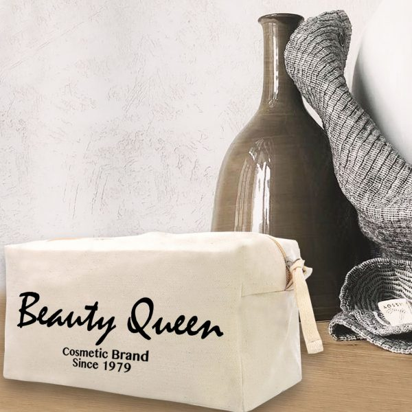 canvas cosmetic bag with logo print