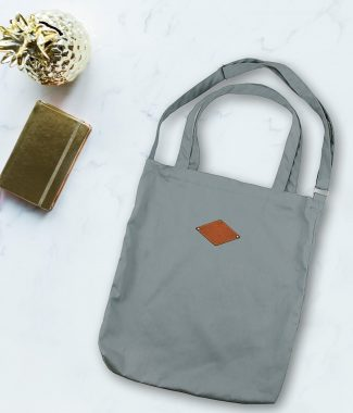 Grey cotton cross body bag