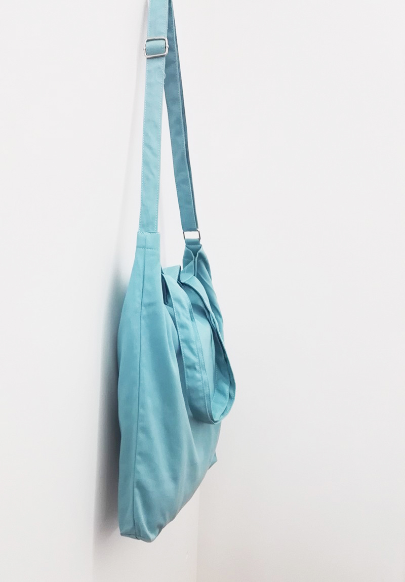 blue cotton shoulder bag