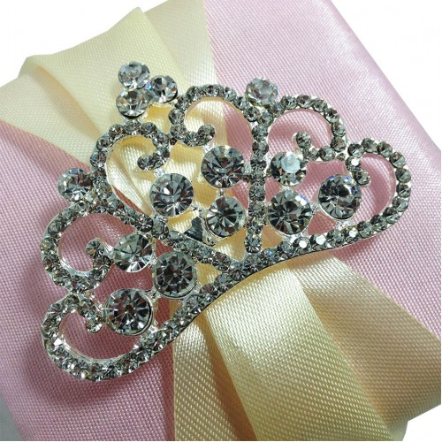 luxury crystal crown brooch