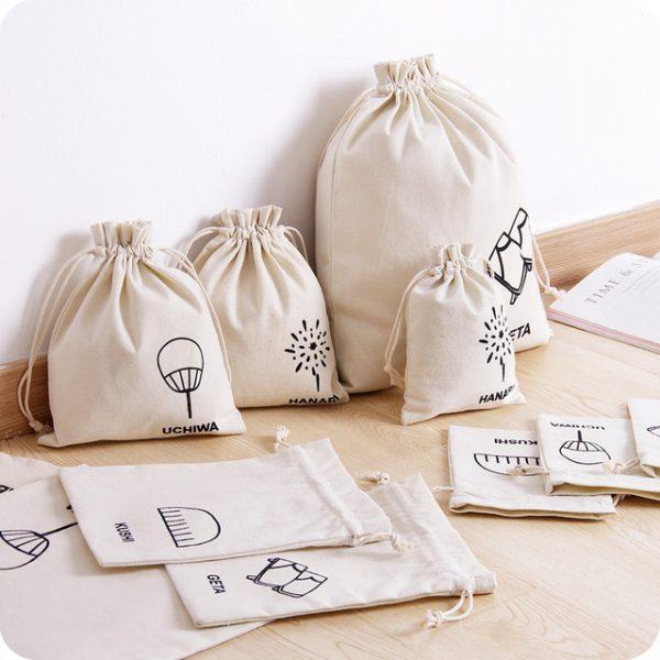 Custom cotton drawstring bag with 1 color logo print
