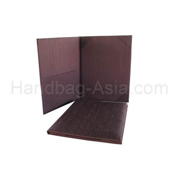 brown dupioni silk wedding folder