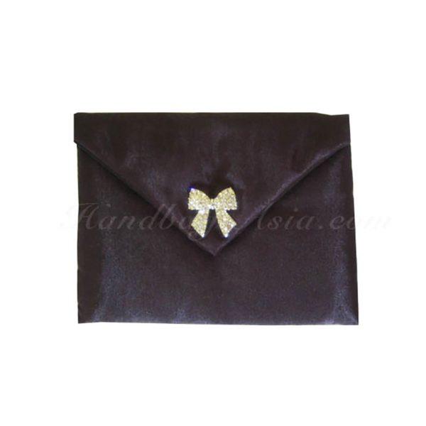 embellished black wedding pouch