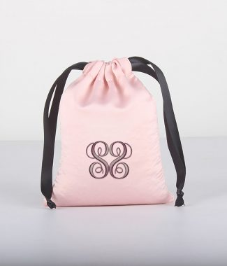 Embroidered satin drawstring bag
