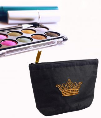 Embroidered silk cosmetic bag with crown