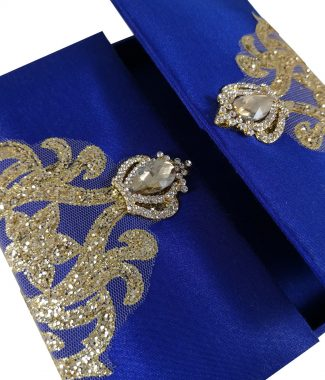Royal blue boxed invitation with embellishment