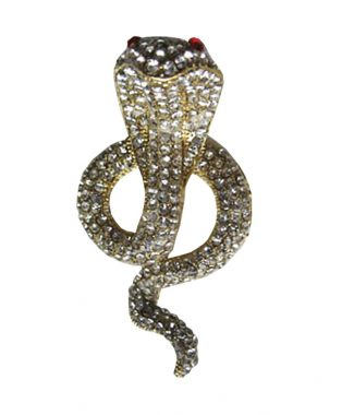 Golden cobra rhinestone brooch