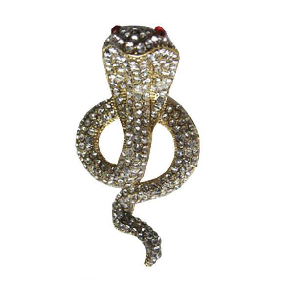 Golden cobra rhinestone brooch