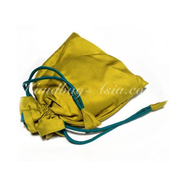 green Thai silk drawstring bag