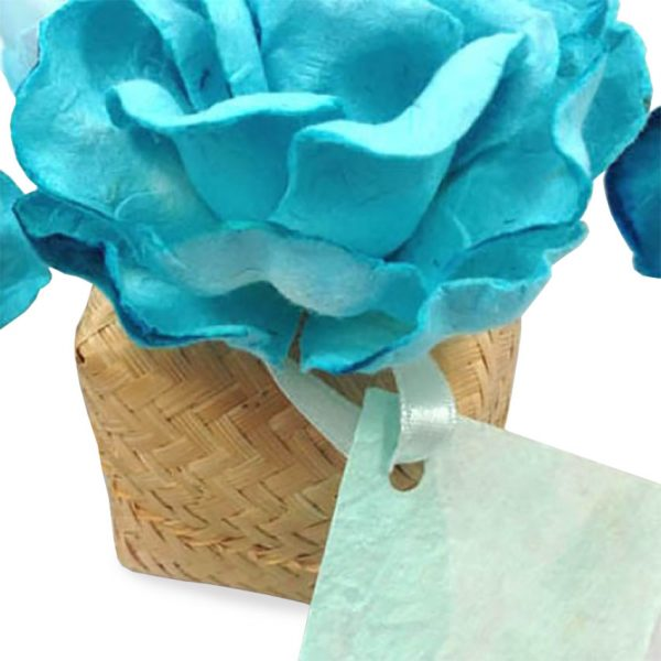 Bamboo box with paper flower for beach wedding