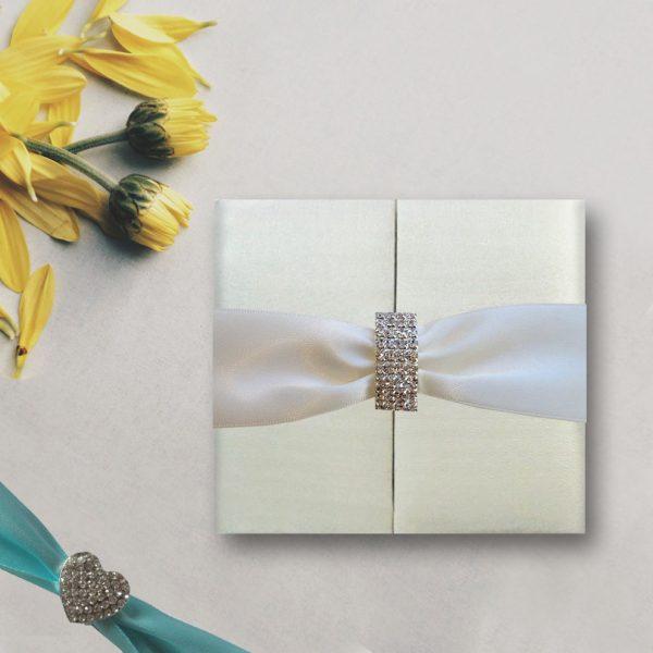 handmade ivory folio invitation