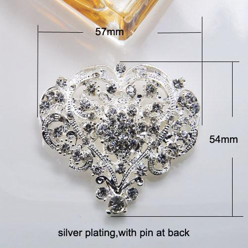 Silver crystal hear brooch for wedding embellishment