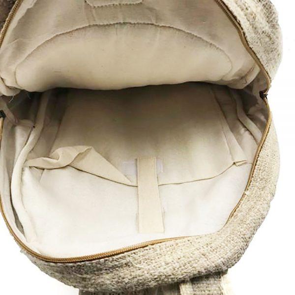 hemp backpack interior