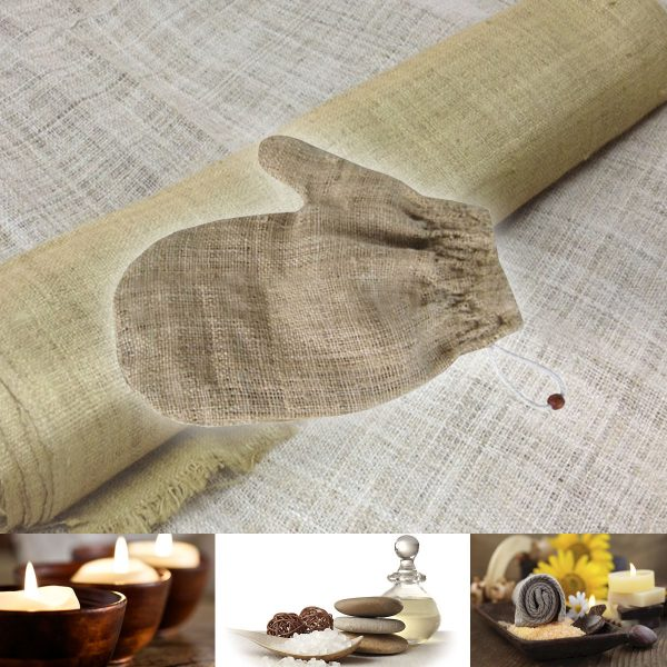 100% hemp fabric bath mitt for spa business
