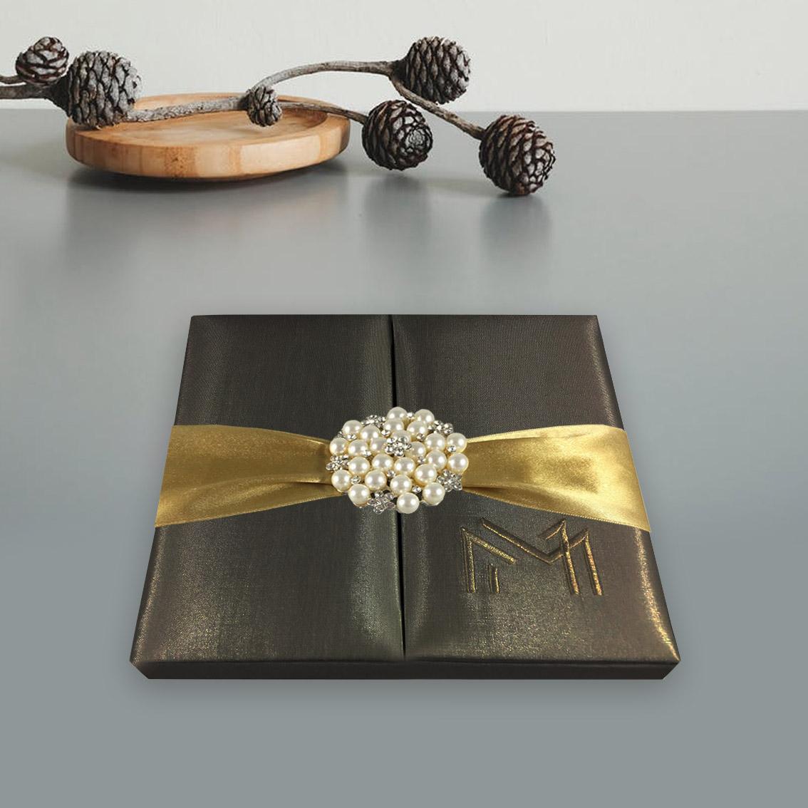 Wedding Invitations High End: Chocolate Brown Pearl Brooch Embellished Silk Wedding