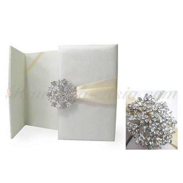 embellished ivory wedding invitation