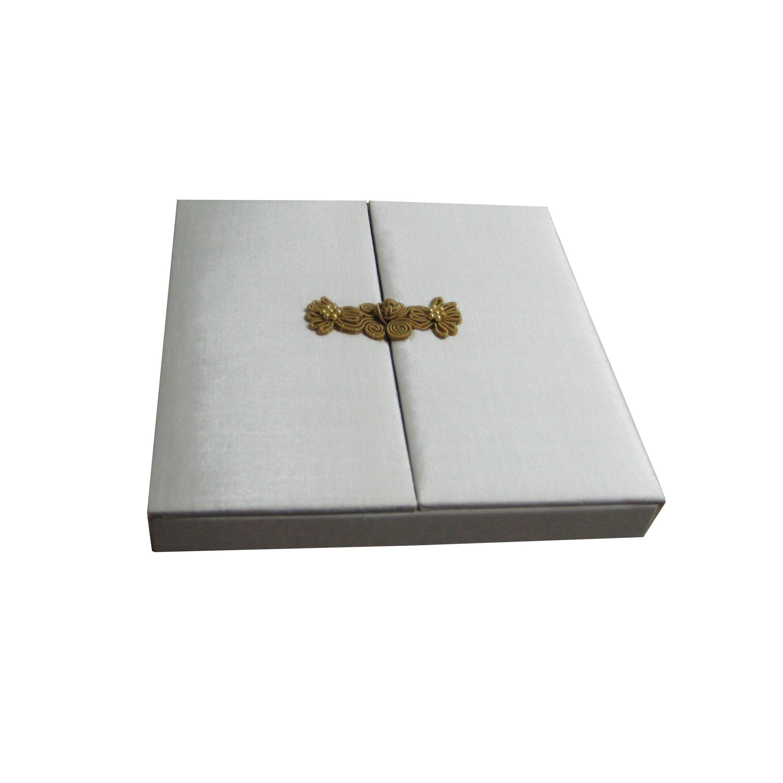 Ivory Gatefold Silk Wedding Invitation Box & Chinese Button Closure