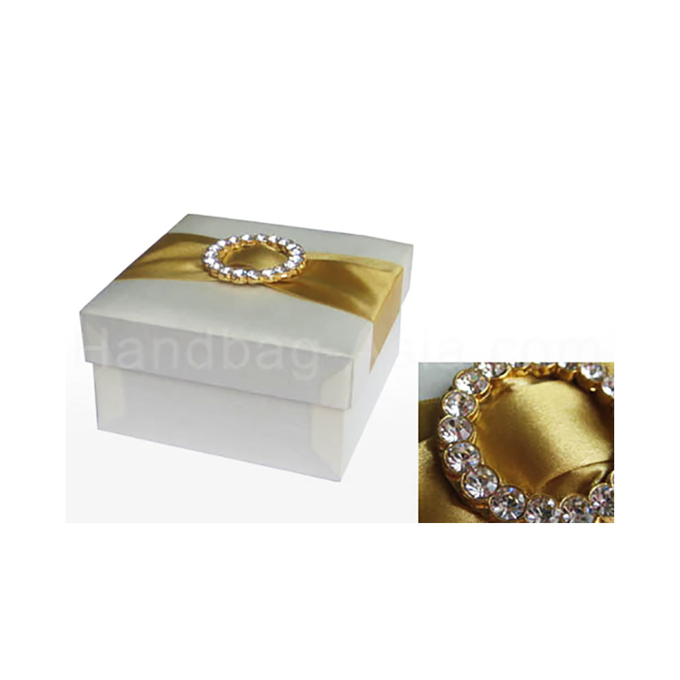 Large Ivory Silk Wedding Favour Box With Gold Plated Ring Rhinestone ...
