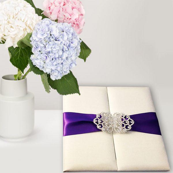 ivory gatefold silk folder