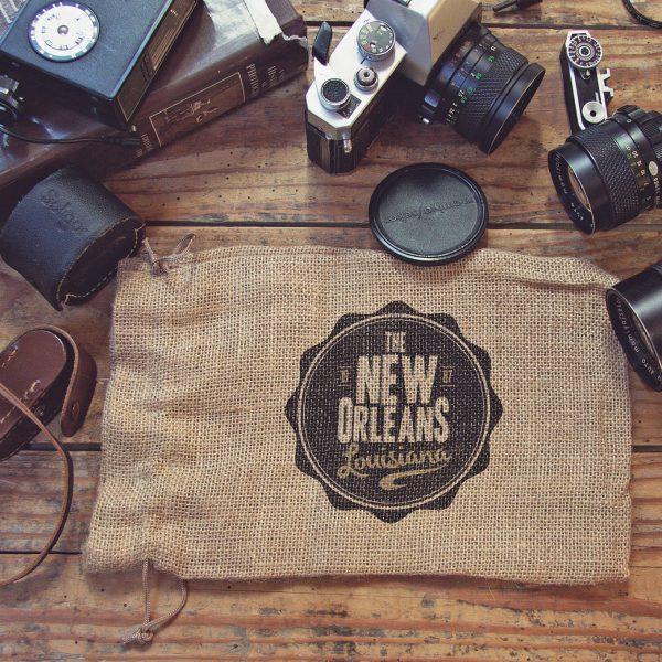 Modern logo printed jute bag