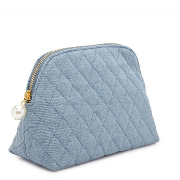 Light blue jeans cosmetic bag
