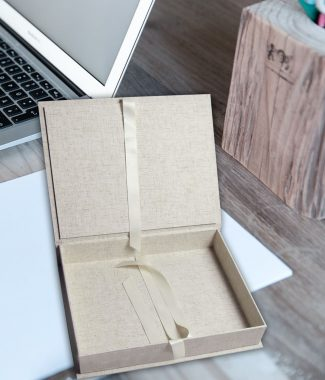 Custom made linen fabric box