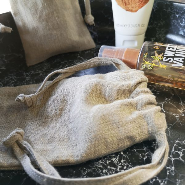 100% linen drawstring bag