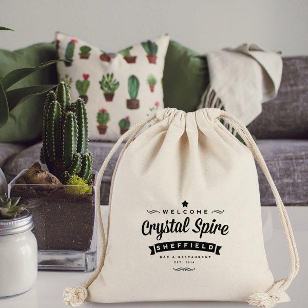 Logo printed cotton drawstring bag