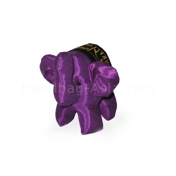 logo embroidered purple silk elephant