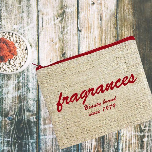 logo printed hemp cosmetic bag