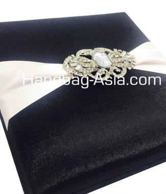 Luxury black wedding box with brooch