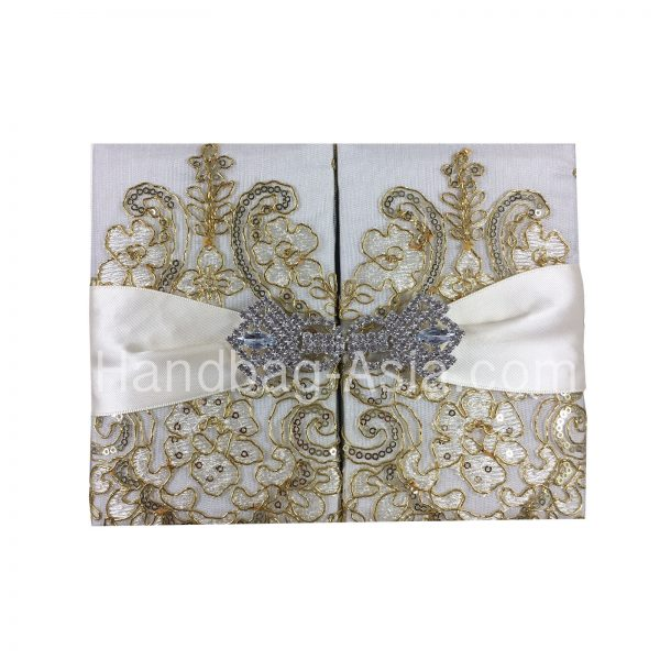 luxury golden lace wedding invitation folder