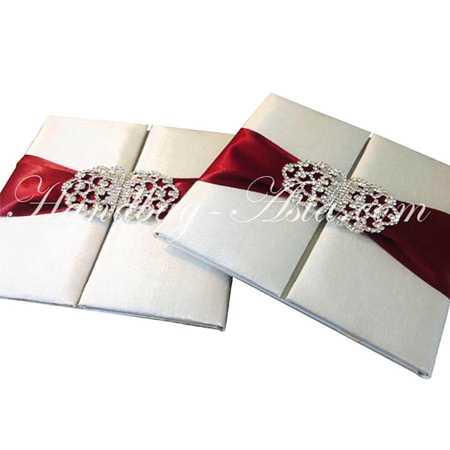 Ivory Silk Wedding Folio With Red Ribbon & Rhinestone Clasp ...