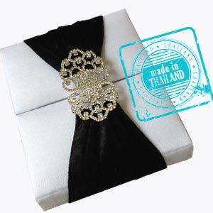 Luxury black and white silk wedding box with pair crystal brooch from Thailand