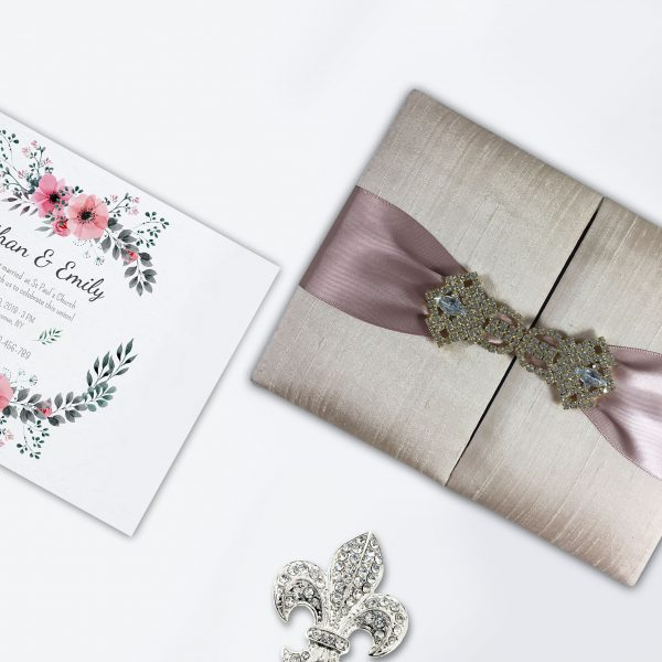 Luxury Thai silk boxed wedding invitation