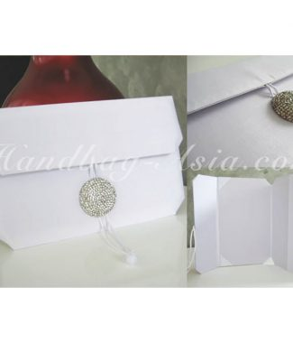 Luxury white silk wedding envelope