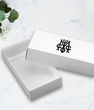 Monogram printed white mailing box