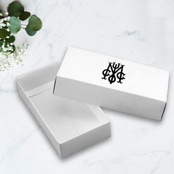Monogram printed white mailing box