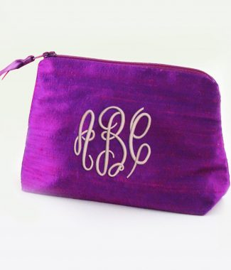 Monogram silk cosmetic bag