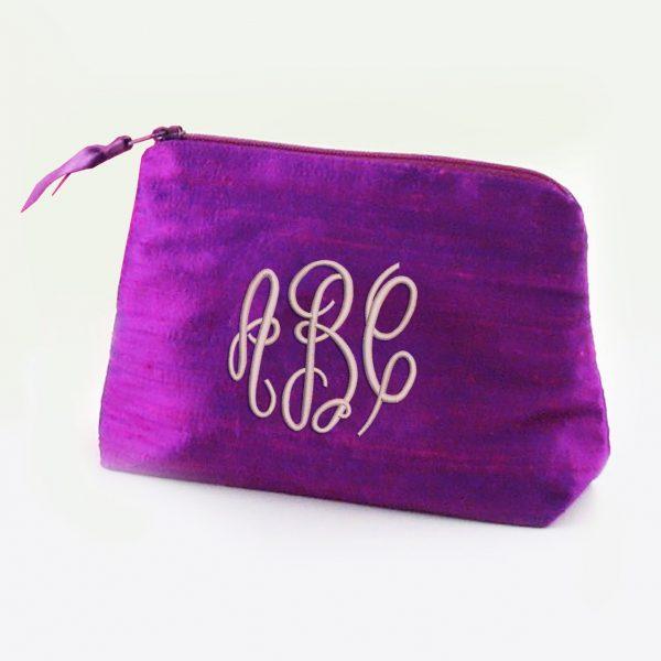 Monogram silk cosmetic bag