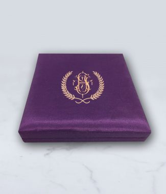 Monogram silk invitation box