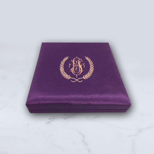 Monogram silk invitation box