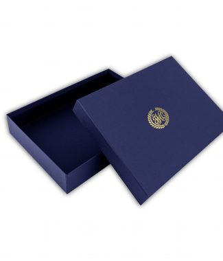 Monogram paper invitations and mailing boxes