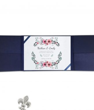 Navy blue gatefold invitation with elegant silk