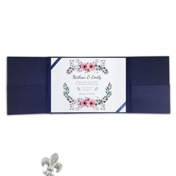 Navy blue gatefold invitation with elegant silk