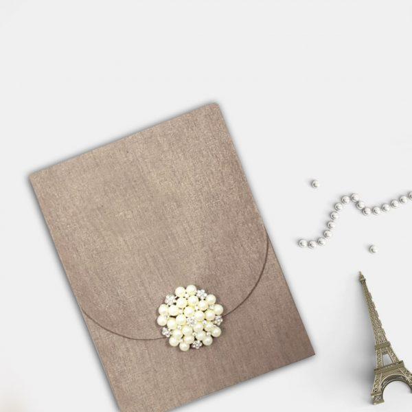 Pearl brooch silk envelope for invitation cards