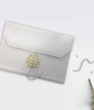 Luxury pearl wedding envelope